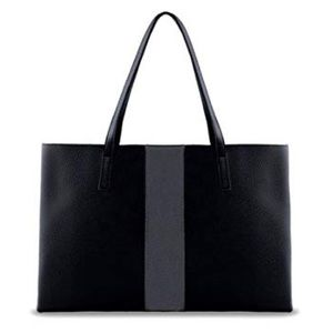 Vince Camuto Black Grey Vegan Leather Tote